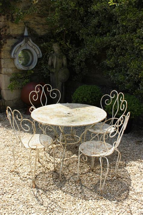 mid  century french garden table  chairs furniture
