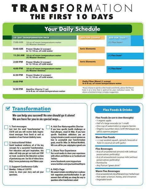 day schedule list purium 10 day transformation schedule tips and