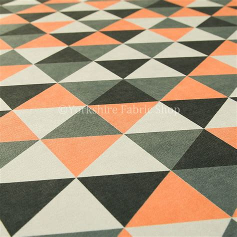 geometric pattern upholstery designer geometric triangle pattern orange white grey