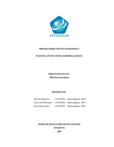 format proposal kewirausahaan dikti contoh proposal pkm kewirausahaan