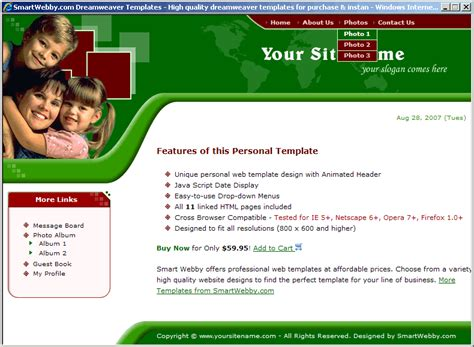 personal web pages templates animated family template