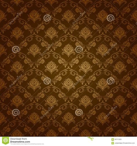 brown royal pattern damask seamless floral pattern stock illustration image