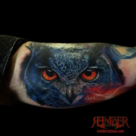 realistic color owl portrait by rember dark age tattoo