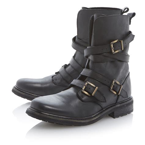 brand new dune mens crunk black leather strappy buckle