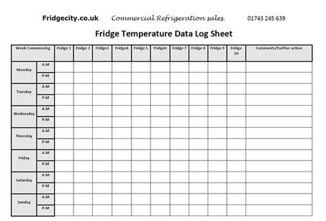 Refrigerator Temperature Log Sheet Template Water Temperature Log Template