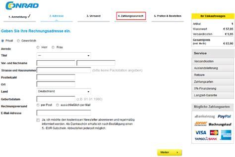 Rechnung Schweiz Lieferung Frankreich rechnungskauf bei conrad kauf auf rechnung bei conrad