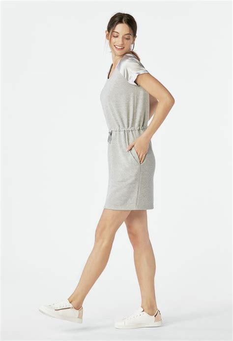 Na Mix Dress sweatshirt satin mix dress in light grey get great deals at justfab