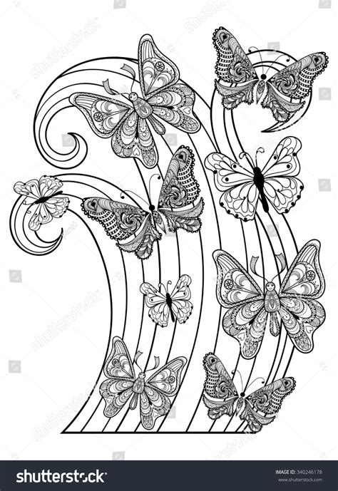 anti stress colouring book doodle and zentangle vector flying butterflies anti stock