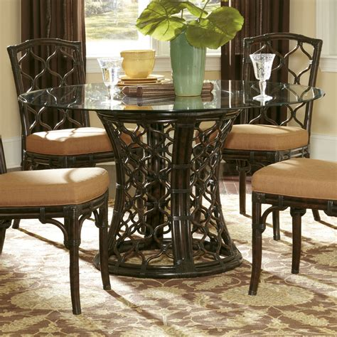 wicker dining room sets hammary boracay 5 piece round glass dining room set in