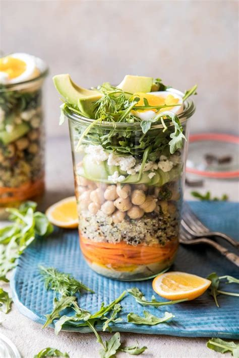 mediterranean chickpea  egg salad jars