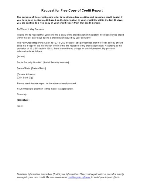 Request Credit Agreement Template Letter Sle Letter Request For Free Copy Of Credit Report