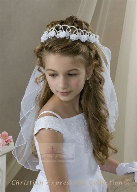 pictures of childrens hair with communion veil 25 best ideas about first communion hair on pinterest