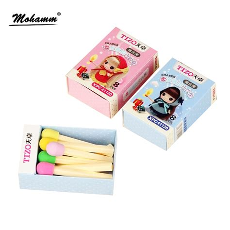 8 Adorable Stationery Kits by 8 Pcs Box Kawaii Creative Matches Pencil