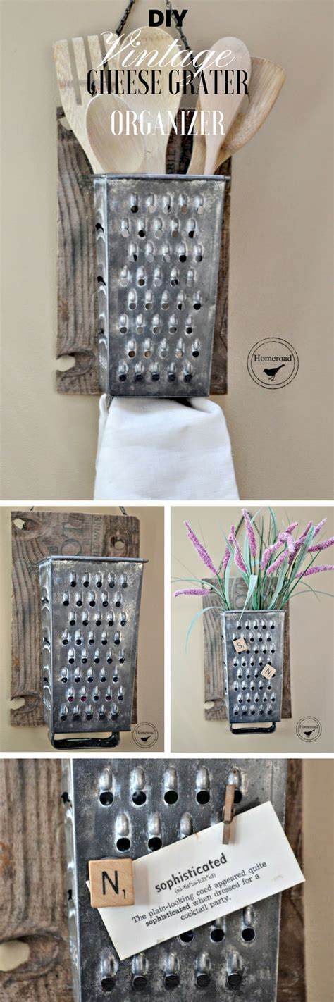 diy kitchen decorating ideas diy vintage cheese grater organizer
