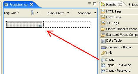 drag and drop inserting text to input textbox with jquery waskb 028 rad 7 0 tutorial developing a jsf application