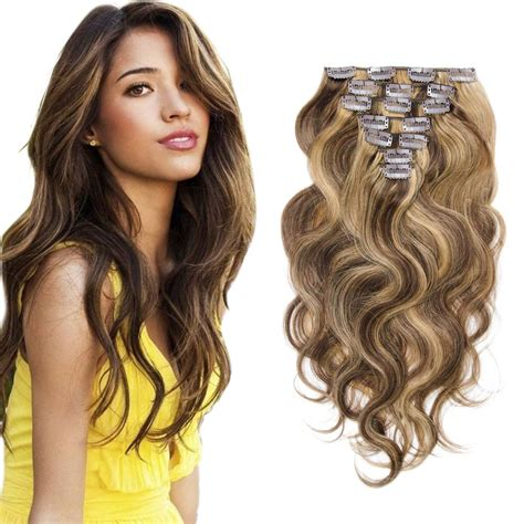 Hairclip Biglayer Semihuman Wavy Light Brown clip in hair extensions wavy 4 27