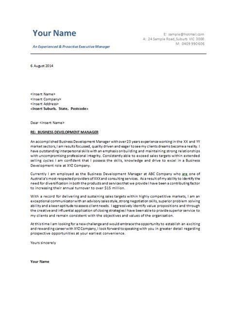 cover letter template examples business letter