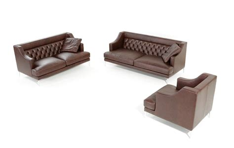 estro salotti ulysses modern brown italian leather sofa set