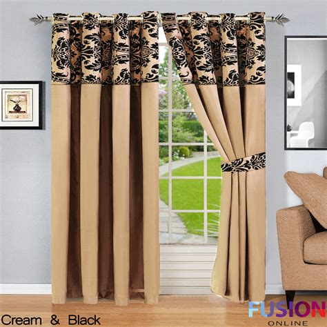 black and cream drapes ring top fully lined pair eyelet ready curtains luxury