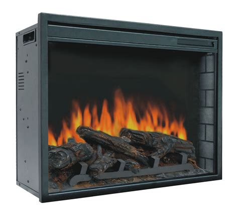 23 quot electric firebox insert with fan heater and glowing