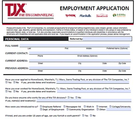 printable job applications marshalls marshalls job application adobe pdf apply online