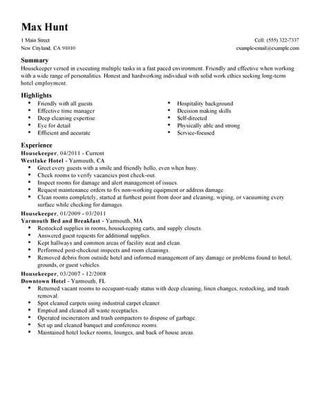 housekeeping resume sle cover letter best housekeeper resume exle livecareer