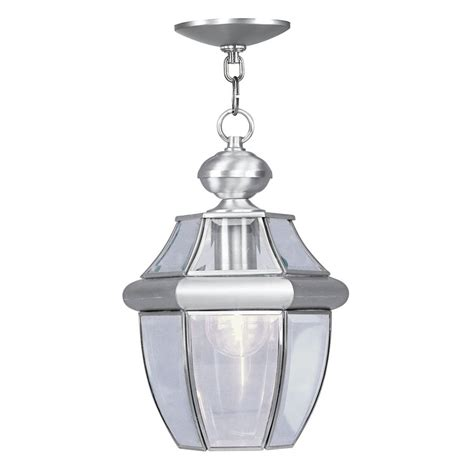 brushed nickel outdoor pendant light shop livex lighting monterey brushed nickel mini