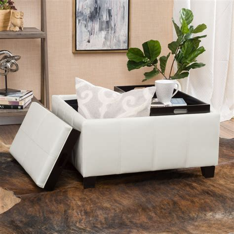 white ottoman coffee table white leather ottoman coffee table ingtopeka com