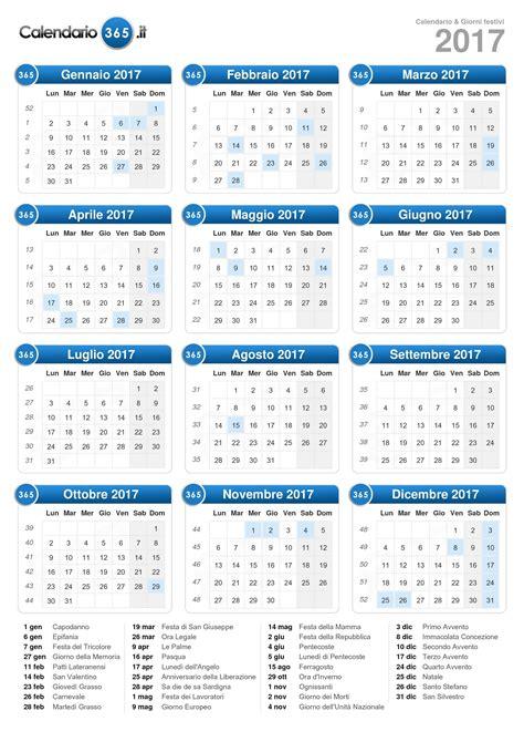 Giorni Festivi Calendario 2017 Calendario 2017