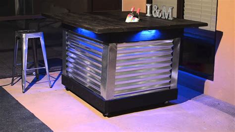 diy patio bar table  built  drink cooler  light