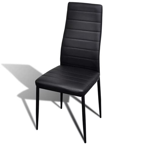 6 Pcs Black Slim Line Dining Chair Vidaxl Co Uk 6 Black Dining Chairs