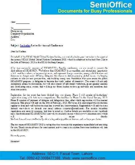 Conference Invitation Letter Invitation Letter For Annual Conference