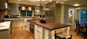 traditional kitchen with heirloom wood countertops black