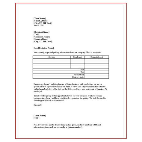 Quotation Letter Template free sle business quotation letter sle business letter