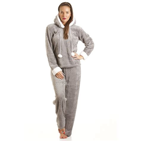 Pyjama 31 W Hat womens luxury supersoft fleece hooded grey pyjama set size 10 20