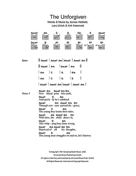 the unforgiven lyrics the unforgiven sheet by metallica lyrics chords