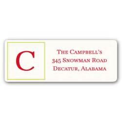 Christmas initial return address labels paperstyle