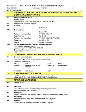 hydraulic oil coshh data sheet fill  printable