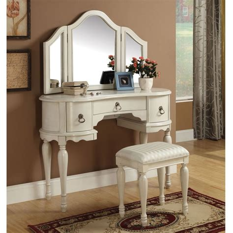White Makeup Vanity Table Trini 3 Pc Vanity Set Tri Fold Mirror Table Stool Bench White Finish Ebay