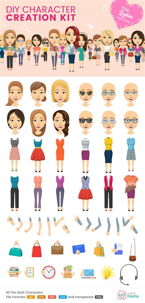 design your own graphics kit 40 diy vector kits to create your own character in adobe