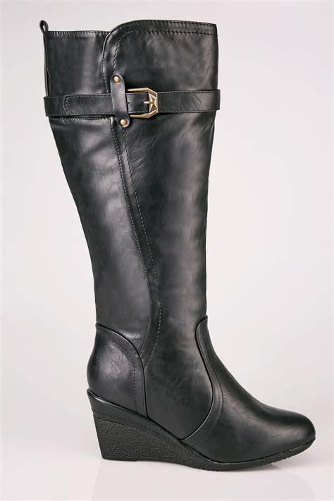 Buckle Gift Card Value - black calf length boots with wedge heel buckle details in true eee fit sizes 4eee