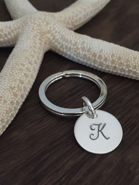 sterling silver monogrammed key ring initial by