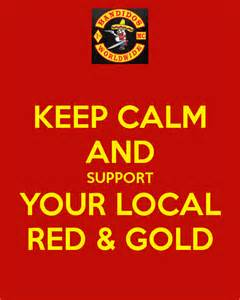 Keep calm and support your local red amp gold poster sylb keep calm