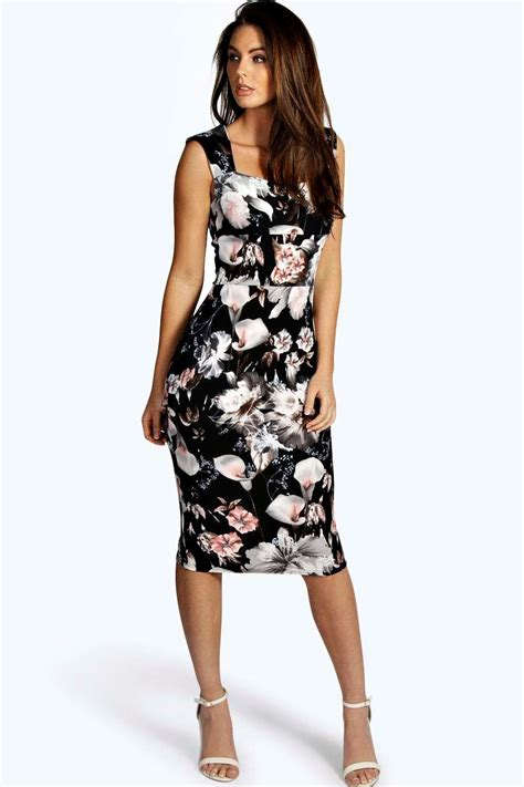 Sevdey Flowery Bodycon Mini Dress by Boohoo Womens Floral Print Sweetheart Midi Bodycon