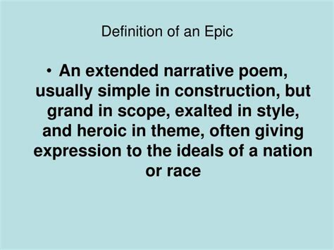 epic themes definition ppt characteristics of an epic hero powerpoint