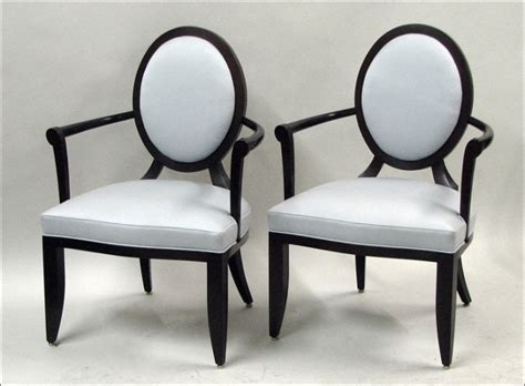 pair of barbara barry for baker oval x back upholstered