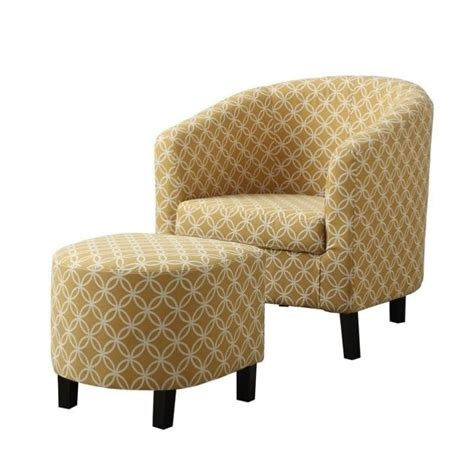 Upholstered Chair And Ottoman Pemberly Row Upholstered Accent Club Arm Chair And Ottoman In Yellow Pr 496170