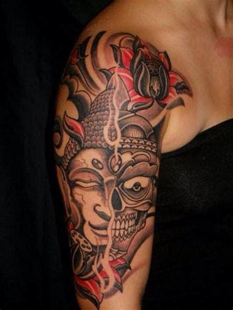 tattoo zone asian style multicolored two sided mask on half
