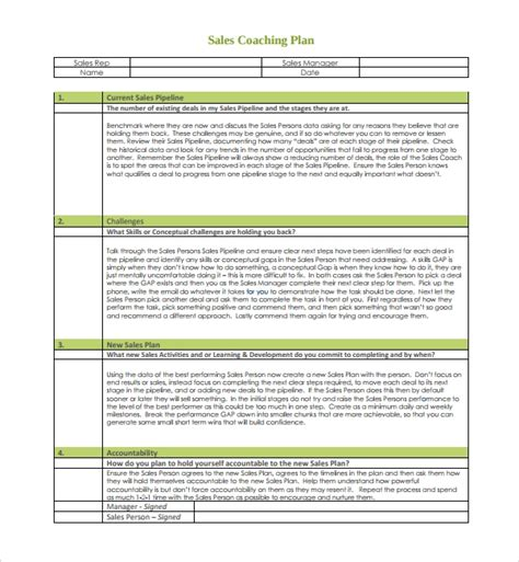 9 Coaching Plan Templates Pdf Word Pages Sle Templates Coaching Templates