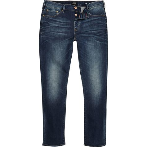 1921 jeans slim straight river river island dark blue wash seth slim fit jeans in blue